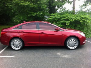 windshield tint - metallic red